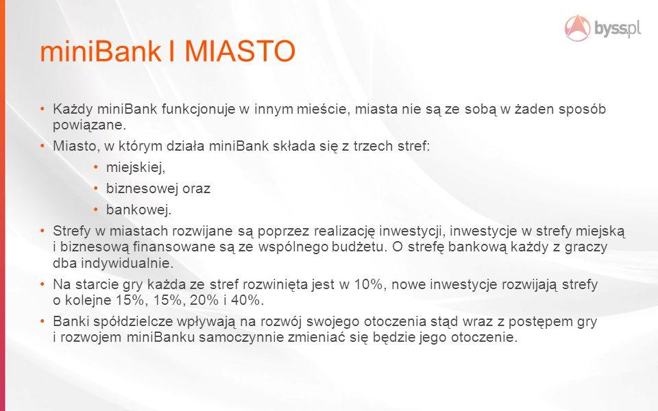miniBank I MIASTO Każdy miniBank funkcjonuje w innym mieście, miasta nie są ze sobą w żaden sposób powiązane.