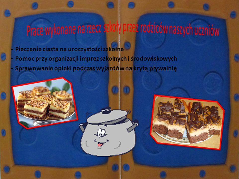 - Pieczenie ciasta na uroczystości szkolne - Pomoc przy organizacji imprez szkolnych i środowiskowych - Sprawowanie opieki podczas wyjazdów na krytą p