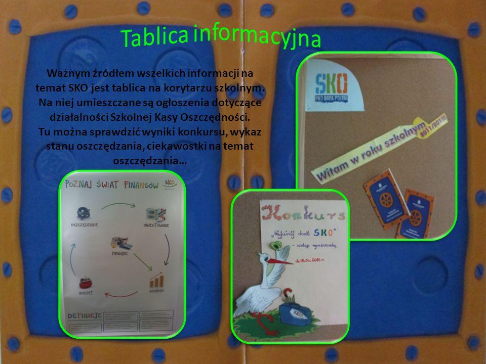 Ważnym źródłem wszelkich informacji na temat SKO jest tablica na korytarzu szkolnym. Na niej umieszczane są ogłoszenia dotyczące działalności Szkolnej