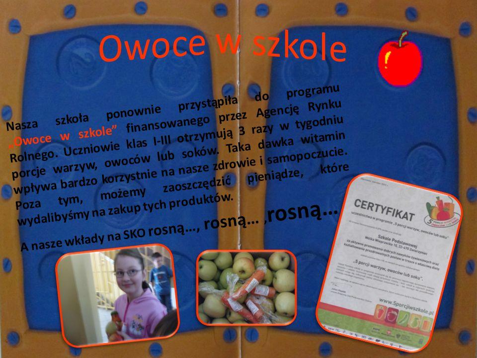 Nasza szkoła ponownie przystąpiła do programu Owoce w szkole finansowanego przez Agencję Rynku Rolnego. Uczniowie klas I-III otrzymują 3 razy w tygodn