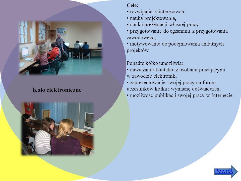 Koło elektroniczne Cele: rozwijanie zainteresowań, nauka projektowania, nauka prezentacji własnej pracy przygotowanie do egzaminu z przygotowania zawodowego, motywowanie do podejmowania ambitnych projektów.