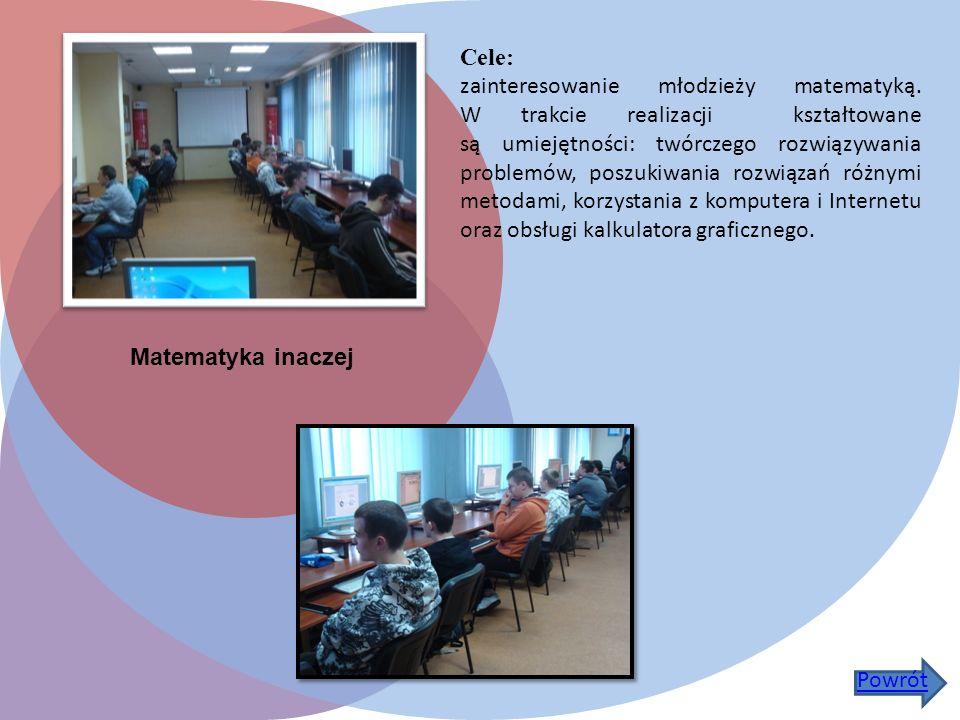 Matematyka inaczej Cele: zainteresowanie młodzieży matematyką.