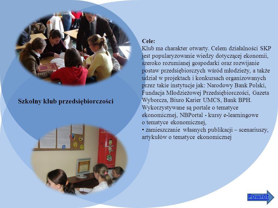 Szkolny klub przedsiębiorczości Cele: Klub ma charakter otwarty.