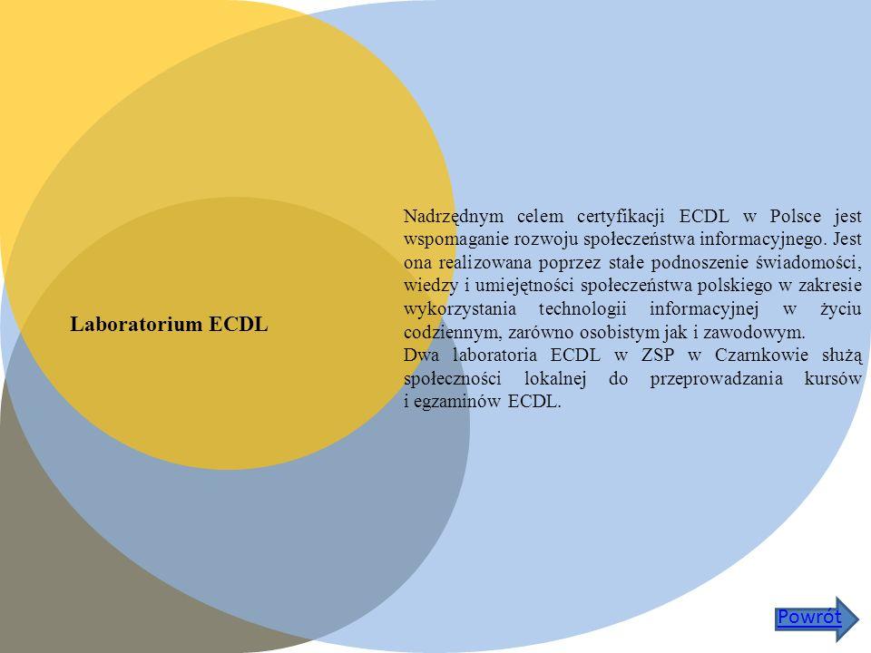 Laboratorium ECDL Nadrzędnym celem certyfikacji ECDL w Polsce jest wspomaganie rozwoju społeczeństwa informacyjnego.