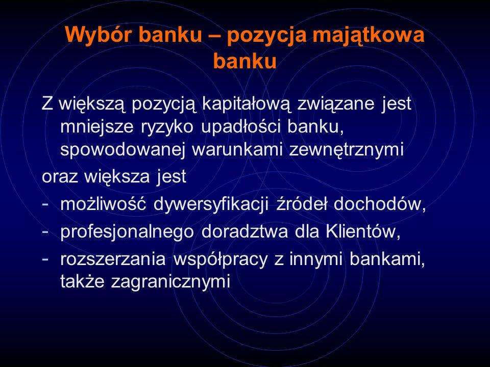 Wybór banku – pozycja majątkowa banku Z większą pozycją kapitałową związane jest mniejsze ryzyko upadłości banku, spowodowanej warunkami zewnętrznymi