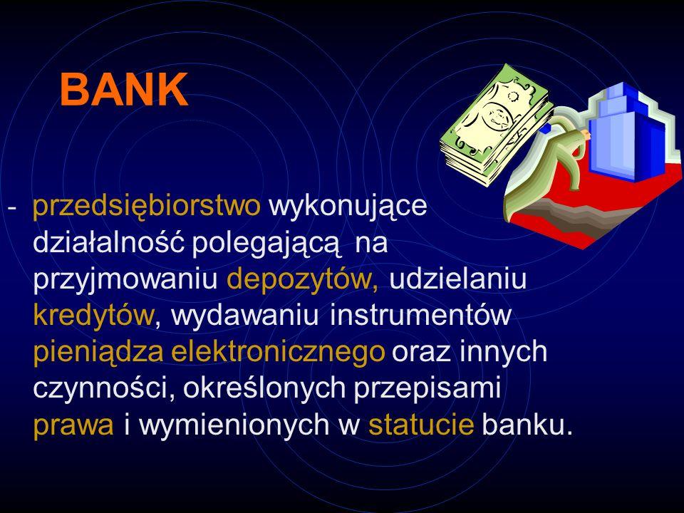 BANK - przedsiębiorstwo wykonujące działalność polegającą na przyjmowaniu depozytów, udzielaniu kredytów, wydawaniu instrumentów pieniądza elektronicz