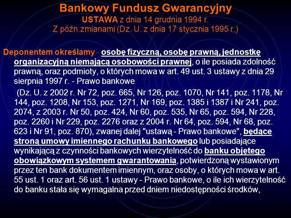 Bankowy Fundusz Gwarancyjny USTAWA z dnia 14 grudnia 1994 r. Z późn.zmianami (Dz. U. z dnia 17 stycznia 1995 r.) Deponentem określamy - osobę fizyczną