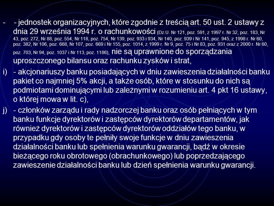 Środki gwarantowane to środki pieniężne zgromadzone w banku przez deponenta na rachunkach imiennych oraz jego należności wynikające z innych czynności bankowych, w walucie polskiej lub walutach obcych, według stanu na dzień zawieszenia działalności banku, potwierdzone wystawionymi przez ten bank dokumentami imiennymi, powiększone o należne odsetki naliczone do dnia spełnienia warunku gwarancji (...)