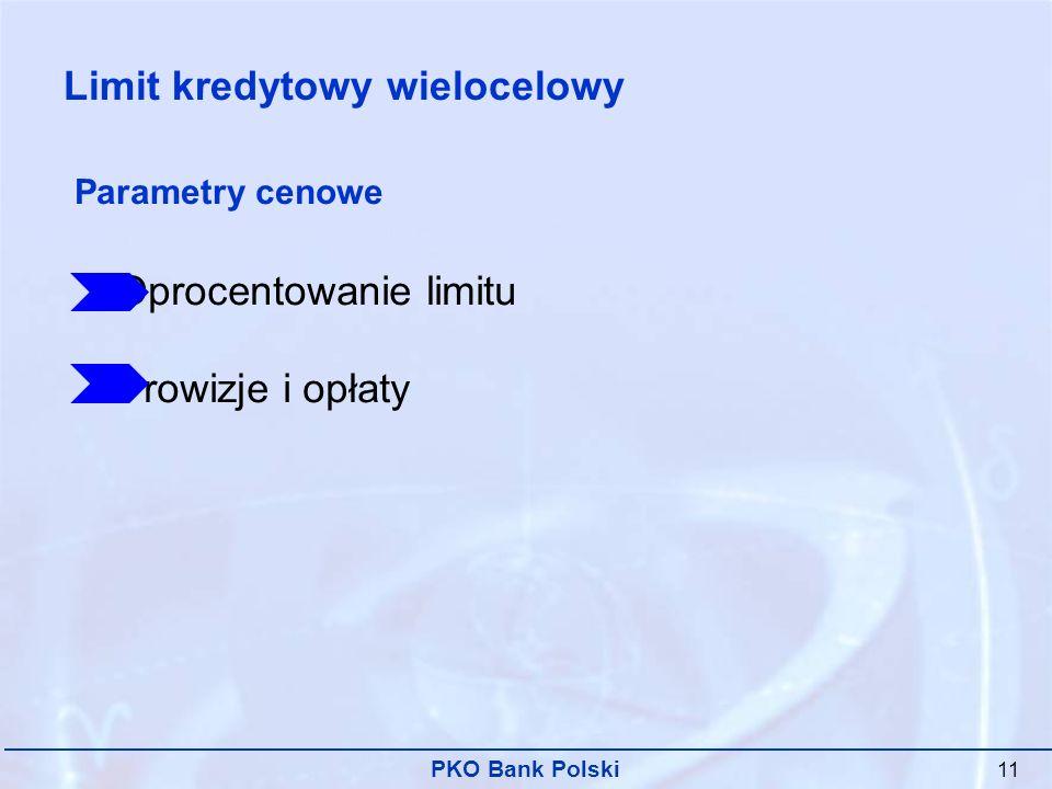 PKO Bank Polski 11 Oprocentowanie limitu Prowizje i opłaty Parametry cenowe Limit kredytowy wielocelowy