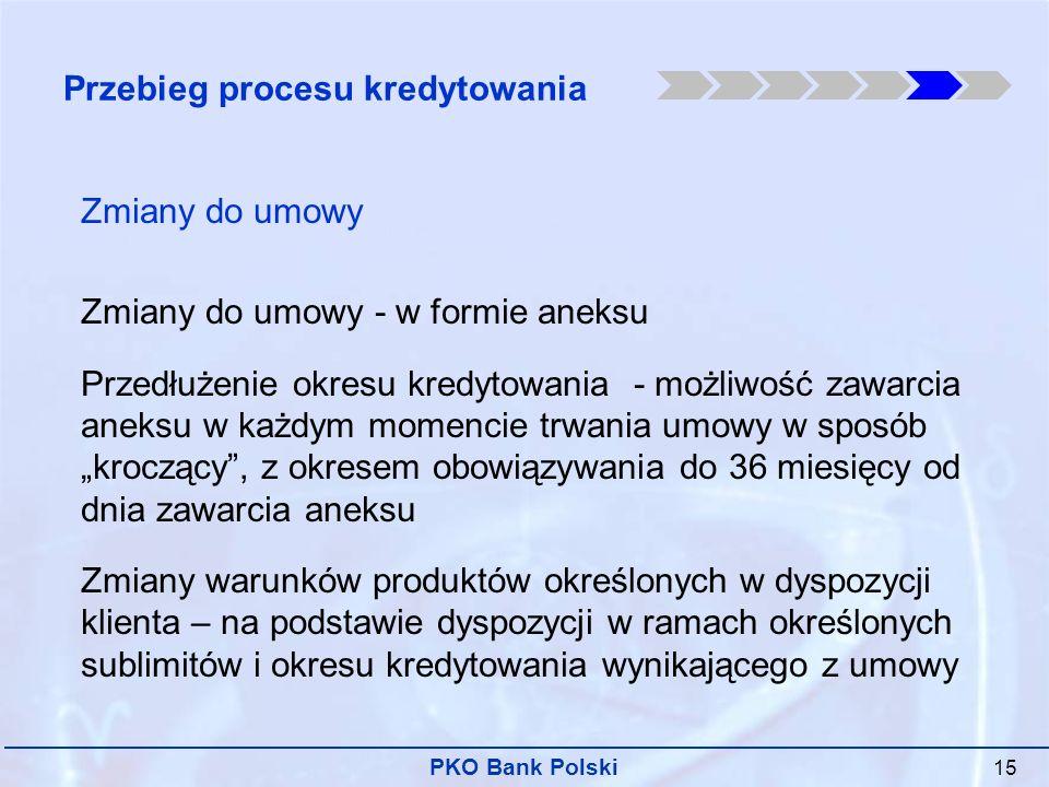 PKO Bank Polski 15 Zmiany do umowy Zmiany do umowy - w formie aneksu Przedłużenie okresu kredytowania - możliwość zawarcia aneksu w każdym momencie trwania umowy w sposób kroczący, z okresem obowiązywania do 36 miesięcy od dnia zawarcia aneksu Zmiany warunków produktów określonych w dyspozycji klienta – na podstawie dyspozycji w ramach określonych sublimitów i okresu kredytowania wynikającego z umowy Przebieg procesu kredytowania