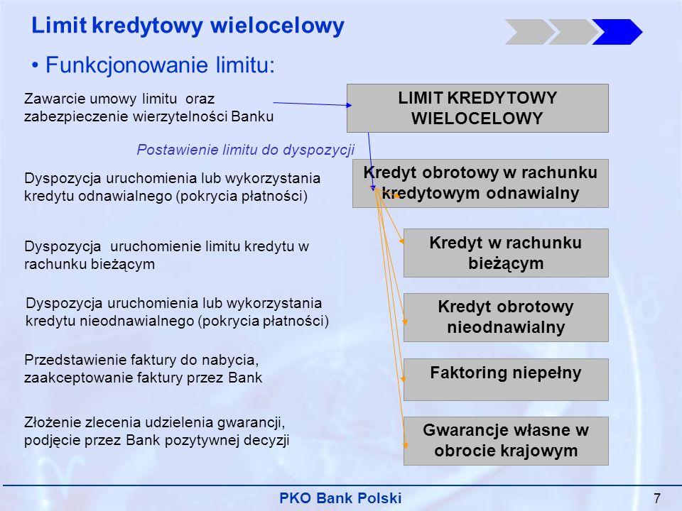 PKO Bank Polski 7 Zawarcie umowy limitu oraz zabezpieczenie wierzytelności Banku LIMIT KREDYTOWY WIELOCELOWY Kredyt obrotowy w rachunku kredytowym odnawialny Kredyt w rachunku bieżącym Kredyt obrotowy nieodnawialny Faktoring niepełny Gwarancje własne w obrocie krajowym Limit kredytowy wielocelowy Funkcjonowanie limitu: Dyspozycja uruchomienia lub wykorzystania kredytu odnawialnego (pokrycia płatności) Dyspozycja uruchomienie limitu kredytu w rachunku bieżącym Dyspozycja uruchomienia lub wykorzystania kredytu nieodnawialnego (pokrycia płatności) Przedstawienie faktury do nabycia, zaakceptowanie faktury przez Bank Złożenie zlecenia udzielenia gwarancji, podjęcie przez Bank pozytywnej decyzji Postawienie limitu do dyspozycji