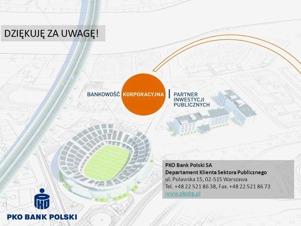 DZIĘKUJĘ ZA UWAGĘ! PKO Bank Polski SA Departament Klienta Sektora Publicznego ul. Puławska 15, 02-515 Warszawa Tel. +48 22 521 86 38, Fax. +48 22 521
