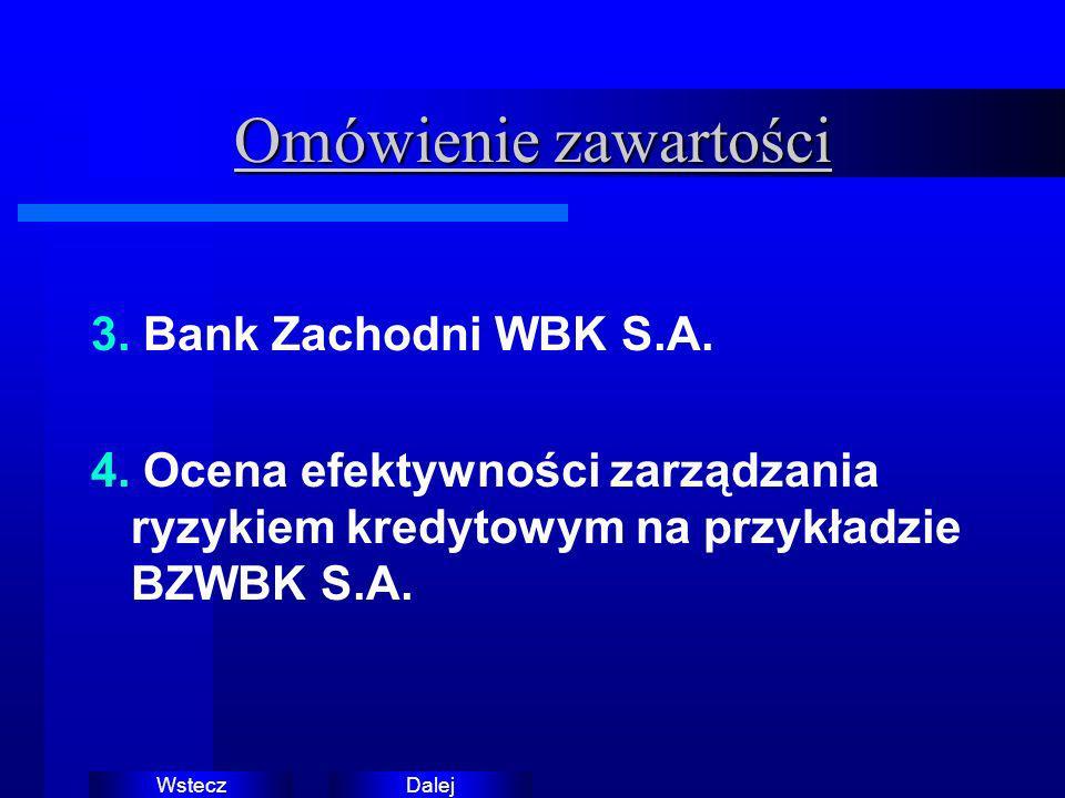 DalejWstecz Omówienie zawartości 3. Bank Zachodni WBK S.A. 4. Ocena efektywności zarządzania ryzykiem kredytowym na przykładzie BZWBK S.A.