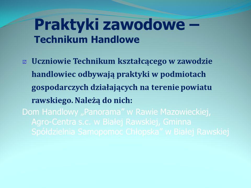 Praktyki zawodowe – Technikum Handlowe Uczniowie Technikum kształcącego w zawodzie handlowiec odbywają praktyki w podmiotach gospodarczych działającyc