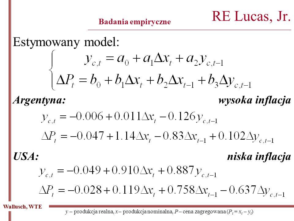 RE Lucas, Jr. ___________________________________________________________________________________ Badania empiryczne Estymowany model: Wallusch, WTE y