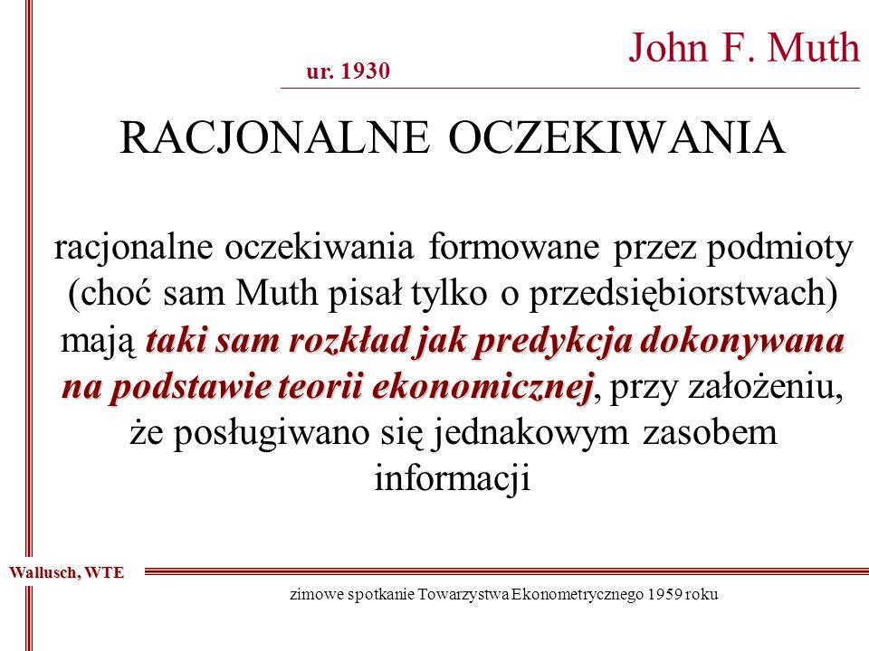 Wallusch, WTE zimowe spotkanie Towarzystwa Ekonometrycznego 1959 roku John F. Muth ___________________________________________________________________