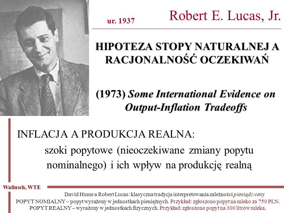 Robert E. Lucas, Jr. ________________________________________________________________________________ ur. 1937 HIPOTEZA STOPY NATURALNEJ A RACJONALNOŚ