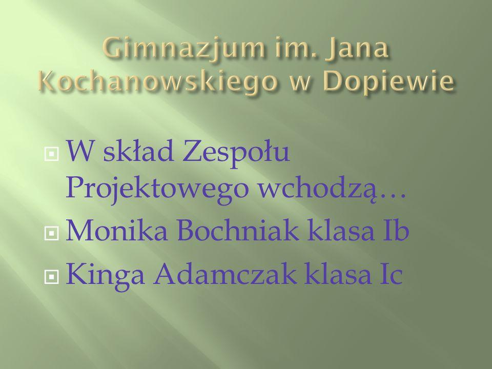 W skład Zespołu Projektowego wchodzą… Monika Bochniak klasa Ib Kinga Adamczak klasa Ic