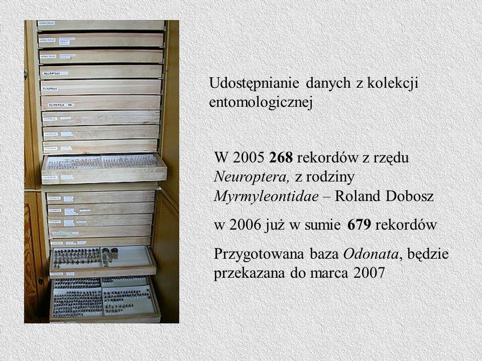 Udostępnianie danych z kolekcji entomologicznej W 2005 268 rekordów z rzędu Neuroptera, z rodziny Myrmyleontidae – Roland Dobosz w 2006 już w sumie 679 rekordów Przygotowana baza Odonata, będzie przekazana do marca 2007