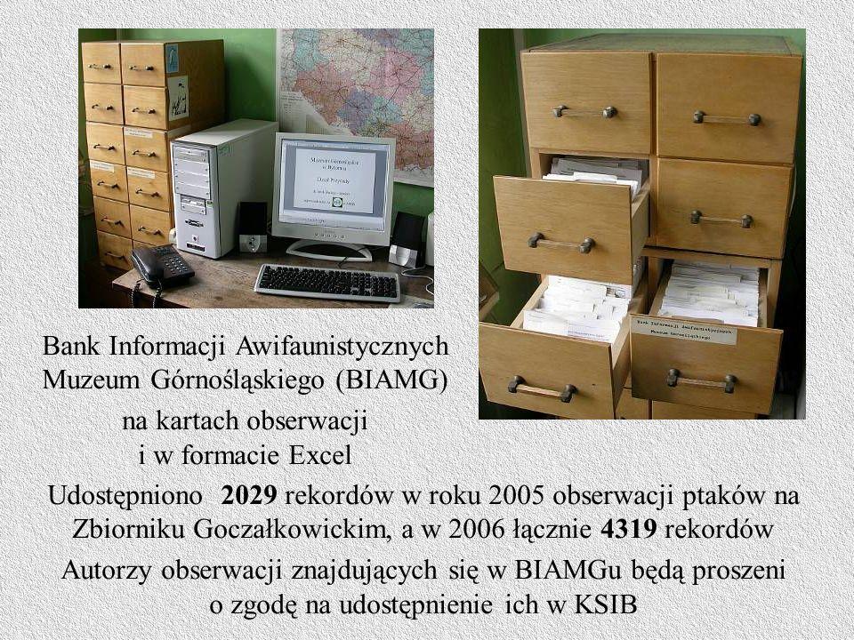Bank Informacji Awifaunistycznych Muzeum Górnośląskiego (BIAMG) na kartach obserwacji i w formacie Excel Udostępniono 2029 rekordów w roku 2005 obserwacji ptaków na Zbiorniku Goczałkowickim, a w 2006 łącznie 4319 rekordów Autorzy obserwacji znajdujących się w BIAMGu będą proszeni o zgodę na udostępnienie ich w KSIB