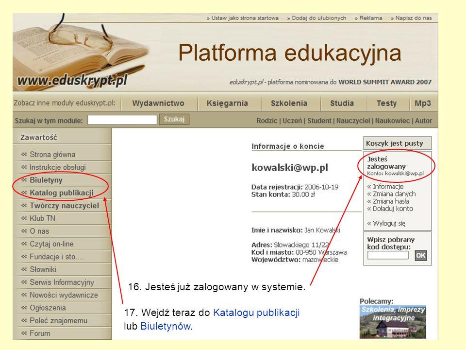 17. Wejdź teraz do Katalogu publikacji lub Biuletynów.