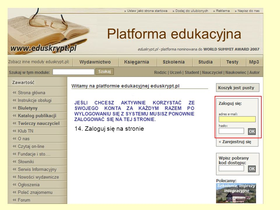 15. Wpisz swój adres e-mail i hasło, a następnie kliknij OK Platforma edukacyjna