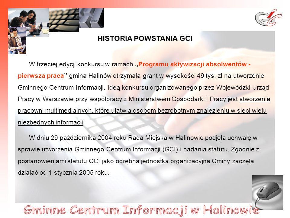 2 HISTORIA POWSTANIA GCI W trzeciej edycji konkursu w ramach Programu aktywizacji absolwentów - pierwsza praca gmina Halinów otrzymała grant w wysokości 49 tys.