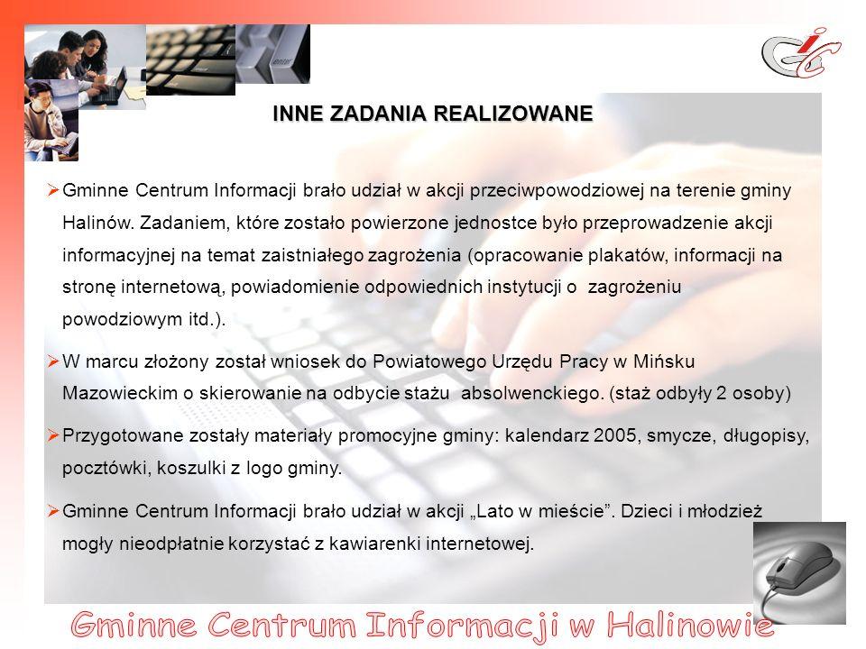 20 INNE ZADANIA REALIZOWANE Gminne Centrum Informacji brało udział w akcji przeciwpowodziowej na terenie gminy Halinów.