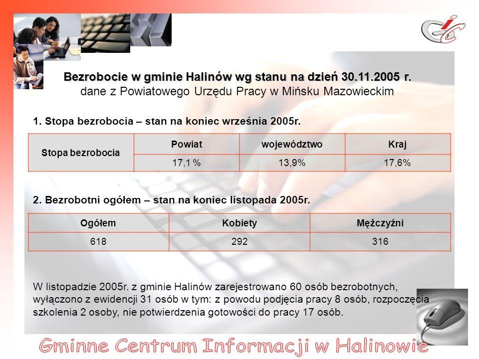 9 Bezrobocie w gminie Halinów wg stanu na dzień 30.11.2005 r.