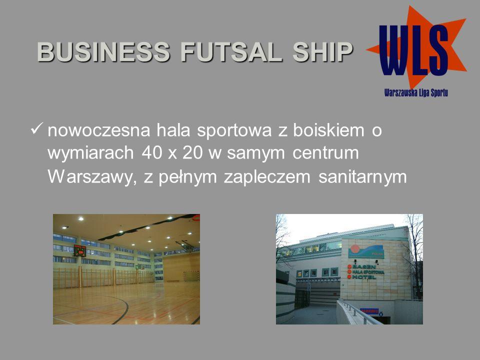 BUSINESS FUTSAL SHIP nowoczesna hala sportowa z boiskiem o wymiarach 40 x 20 w samym centrum Warszawy, z pełnym zapleczem sanitarnym