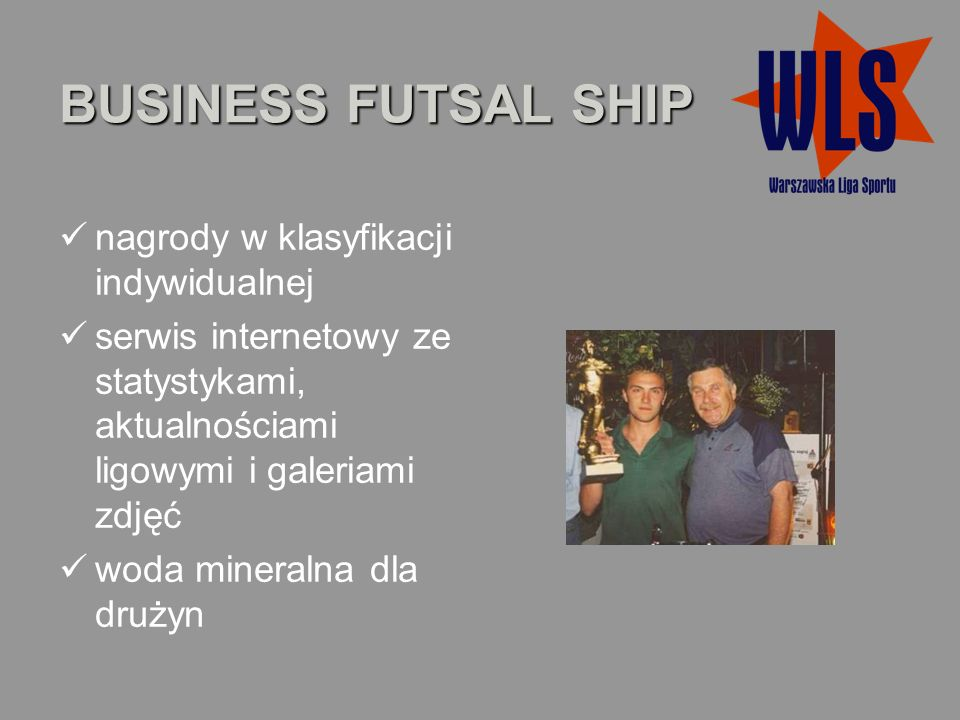 BUSINESS FUTSAL SHIP nagrody w klasyfikacji indywidualnej serwis internetowy ze statystykami, aktualnościami ligowymi i galeriami zdjęć woda mineralna dla drużyn