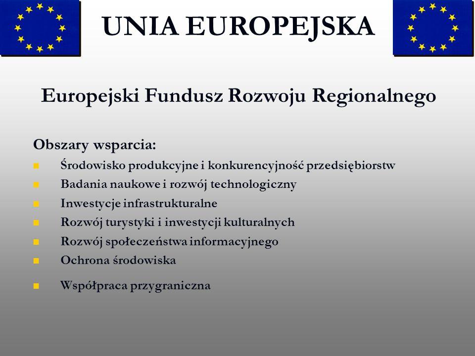 Europejski Fundusz Rozwoju Regionalnego UNIA EUROPEJSKA Obszary wsparcia: Środowisko produkcyjne i konkurencyjność przedsiębiorstw Badania naukowe i r