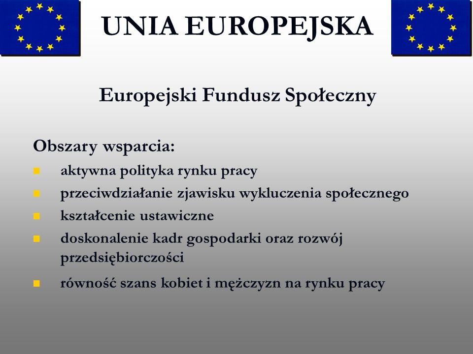 Europejski Fundusz Społeczny UNIA EUROPEJSKA Obszary wsparcia: aktywna polityka rynku pracy przeciwdziałanie zjawisku wykluczenia społecznego kształce