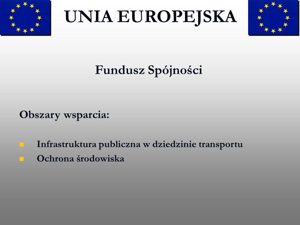 Fundusz Spójności UNIA EUROPEJSKA Obszary wsparcia: Infrastruktura publiczna w dziedzinie transportu Ochrona środowiska