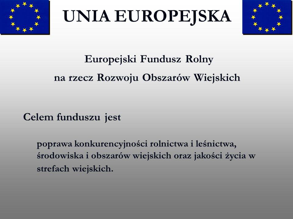 Europejski Fundusz Rolny na rzecz Rozwoju Obszarów Wiejskich UNIA EUROPEJSKA Celem funduszu jest poprawa konkurencyjności rolnictwa i leśnictwa, środo