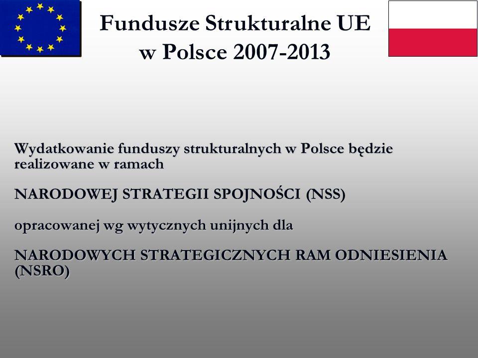 Fundusze Strukturalne UE w Polsce 2007-2013 Wydatkowanie funduszy strukturalnych w Polsce będzie realizowane w ramach NARODOWEJ STRATEGII SPOJNOŚCI (N