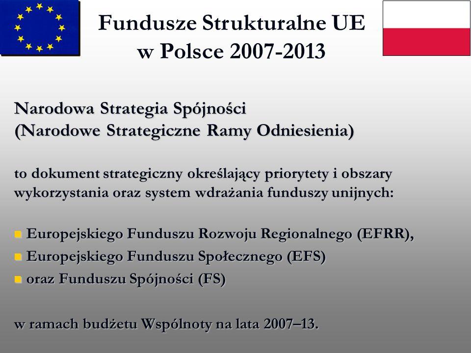 Fundusze Strukturalne UE w Polsce 2007-2013 Narodowa Strategia Spójności (Narodowe Strategiczne Ramy Odniesienia) to dokument strategiczny określający