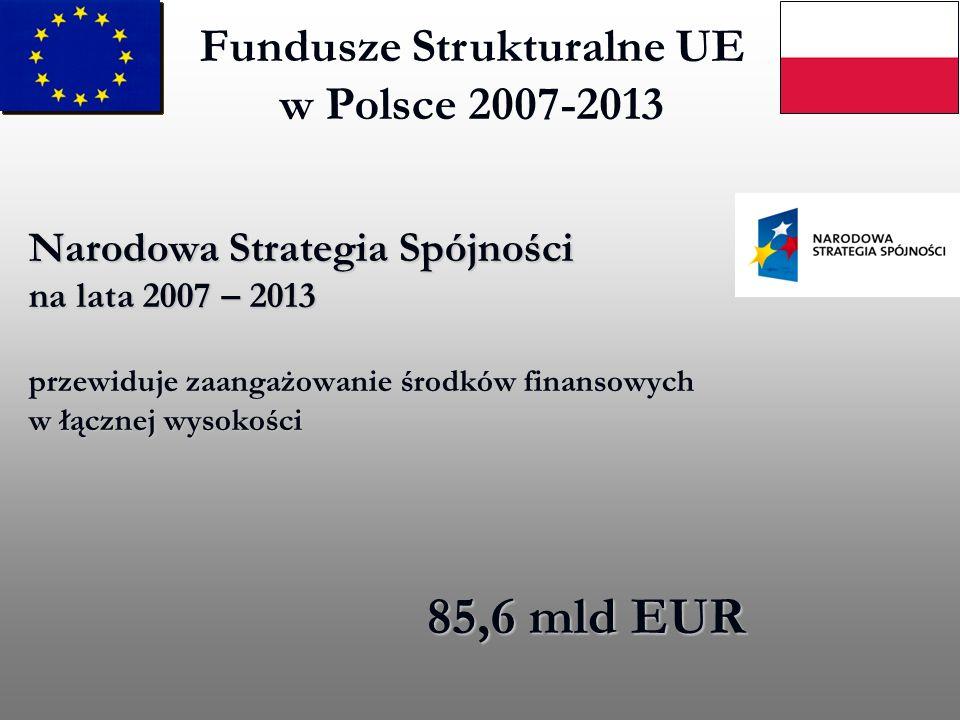 Fundusze Strukturalne UE w Polsce 2007-2013 Narodowa Strategia Spójności na lata 2007 – 2013 przewiduje zaangażowanie środków finansowych w łącznej wy