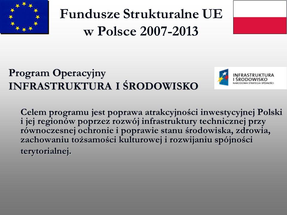 Fundusze Strukturalne UE w Polsce 2007-2013 Program Operacyjny INFRASTRUKTURA I ŚRODOWISKO Celem programu jest poprawa atrakcyjności inwestycyjnej Pol