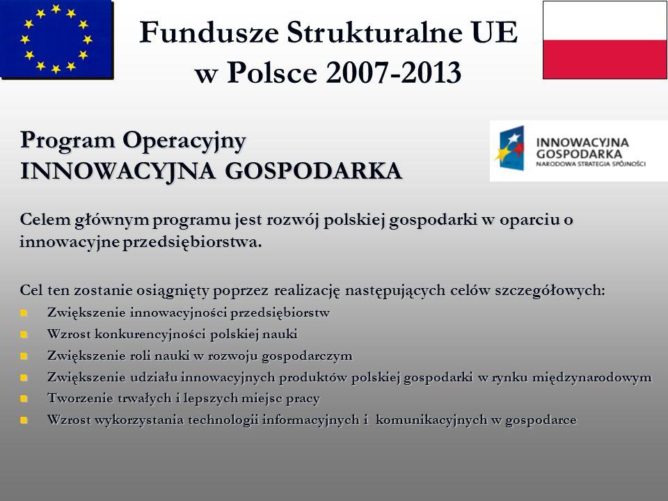 Fundusze Strukturalne UE w Polsce 2007-2013 Program Operacyjny INNOWACYJNA GOSPODARKA Celem głównym programu jest rozwój polskiej gospodarki w oparciu