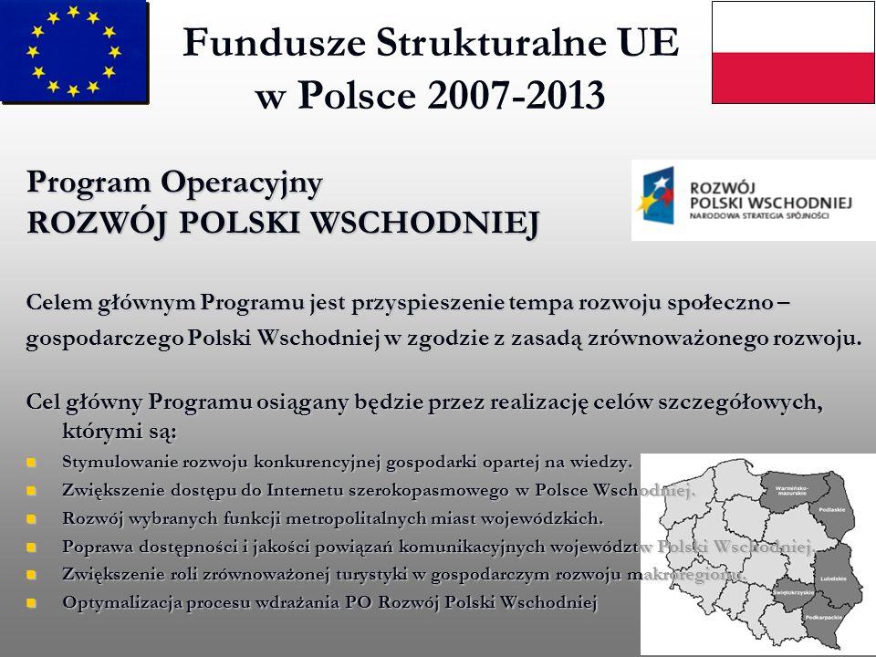 Program Operacyjny ROZWÓJ POLSKI WSCHODNIEJ Celem głównym Programu jest przyspieszenie tempa rozwoju społeczno – gospodarczego Polski Wschodniej w zgo