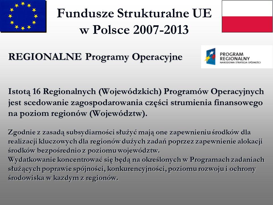 REGIONALNE Programy Operacyjne Istotą 16 Regionalnych (Wojewódzkich) Programów Operacyjnych jest scedowanie zagospodarowania części strumienia finanso