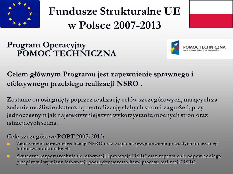 Fundusze Strukturalne UE w Polsce 2007-2013 Program Operacyjny POMOC TECHNICZNA Celem głównym Programu jest zapewnienie sprawnego i efektywnego przebi
