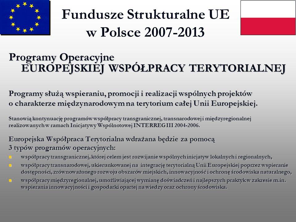 Fundusze Strukturalne UE w Polsce 2007-2013 Programy Operacyjne EUROPEJSKIEJ WSPÓŁPRACY TERYTORIALNEJ Programy służą wspieraniu, promocji i realizacji