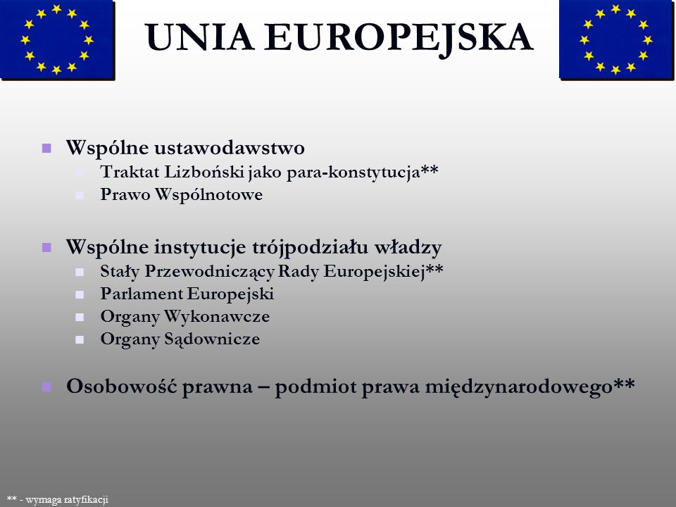 Wspólne ustawodawstwo Traktat Lizboński jako para-konstytucja** Prawo Wspólnotowe Wspólne instytucje trójpodziału władzy Stały Przewodniczący Rady Eur