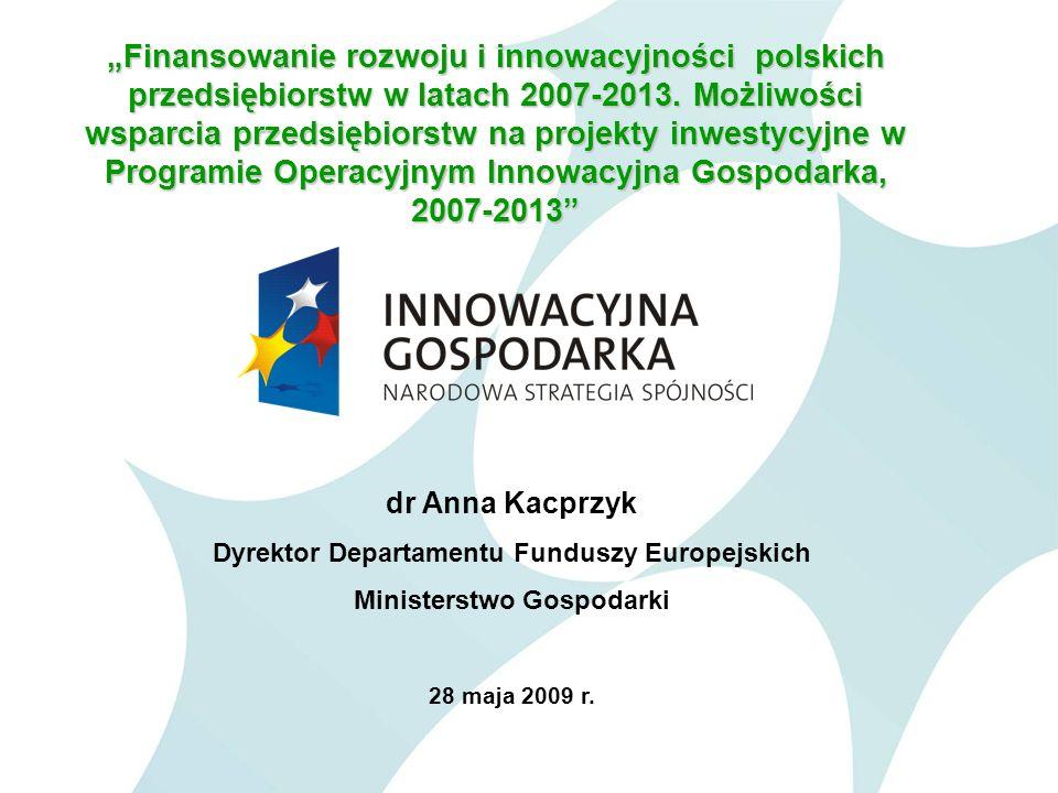 2 Programy Operacyjne w ramach Narodowych Strategicznych Ram Odniesienia 2007-2013 (Narodowej Strategii Spójności) PROGRAM OPERACYJNYŚrodki z UE (mln euro) % Regionalne Programy Operacyjne (16) 16 555,625 Rozwój Polski Wschodniej2 273,83,5 Innowacyjna Gospodarka8 254,912 Kapitał ludzki9 707,114 Infrastruktura i Środowisko27 913,741,5 Europejska Współpraca Terytorialna731,11 Pomoc Techniczna516,71 Rezerwa wykonania1 331,32 RAZEM67 284,2100