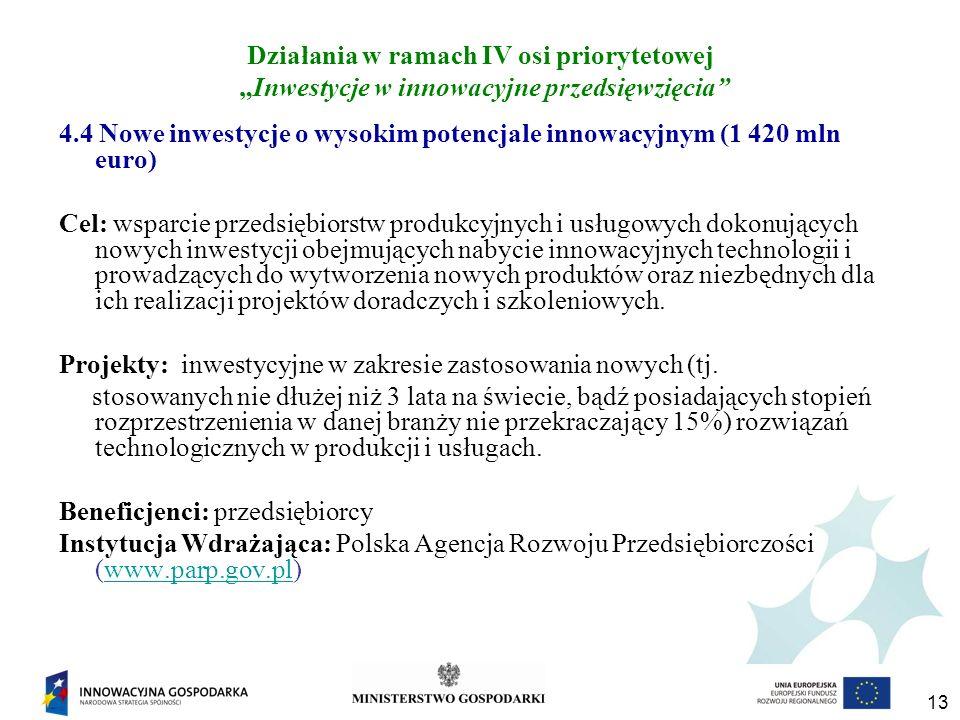 13 Działania w ramach IV osi priorytetowej Inwestycje w innowacyjne przedsięwzięcia 4.4 Nowe inwestycje o wysokim potencjale innowacyjnym (1 420 mln euro) Cel: wsparcie przedsiębiorstw produkcyjnych i usługowych dokonujących nowych inwestycji obejmujących nabycie innowacyjnych technologii i prowadzących do wytworzenia nowych produktów oraz niezbędnych dla ich realizacji projektów doradczych i szkoleniowych.