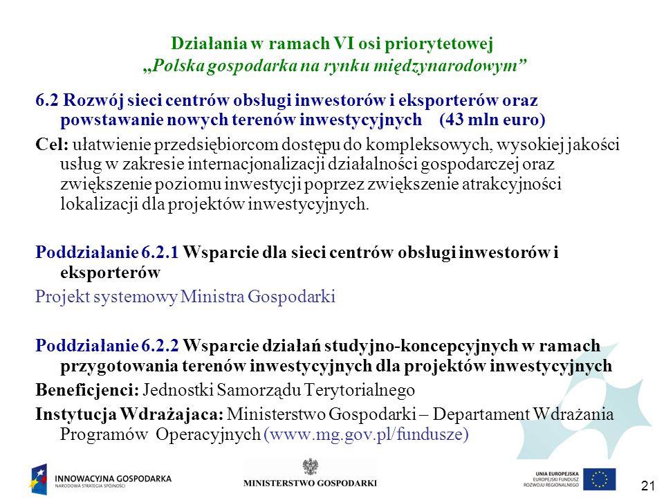 21 Działania w ramach VI osi priorytetowej Polska gospodarka na rynku międzynarodowym 6.2 Rozwój sieci centrów obsługi inwestorów i eksporterów oraz powstawanie nowych terenów inwestycyjnych (43 mln euro) Cel: ułatwienie przedsiębiorcom dostępu do kompleksowych, wysokiej jakości usług w zakresie internacjonalizacji działalności gospodarczej oraz zwiększenie poziomu inwestycji poprzez zwiększenie atrakcyjności lokalizacji dla projektów inwestycyjnych.