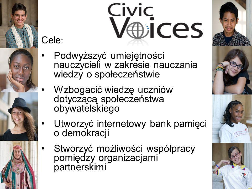 3 Cele: Podwyższyć umiejętności nauczycieli w zakresie nauczania wiedzy o społeczeństwie Wzbogacić wiedzę uczniów dotyczącą społeczeństwa obywatelskiego Utworzyć internetowy bank pamięci o demokracji Stworzyć możliwości współpracy pomiędzy organizacjami partnerskimi