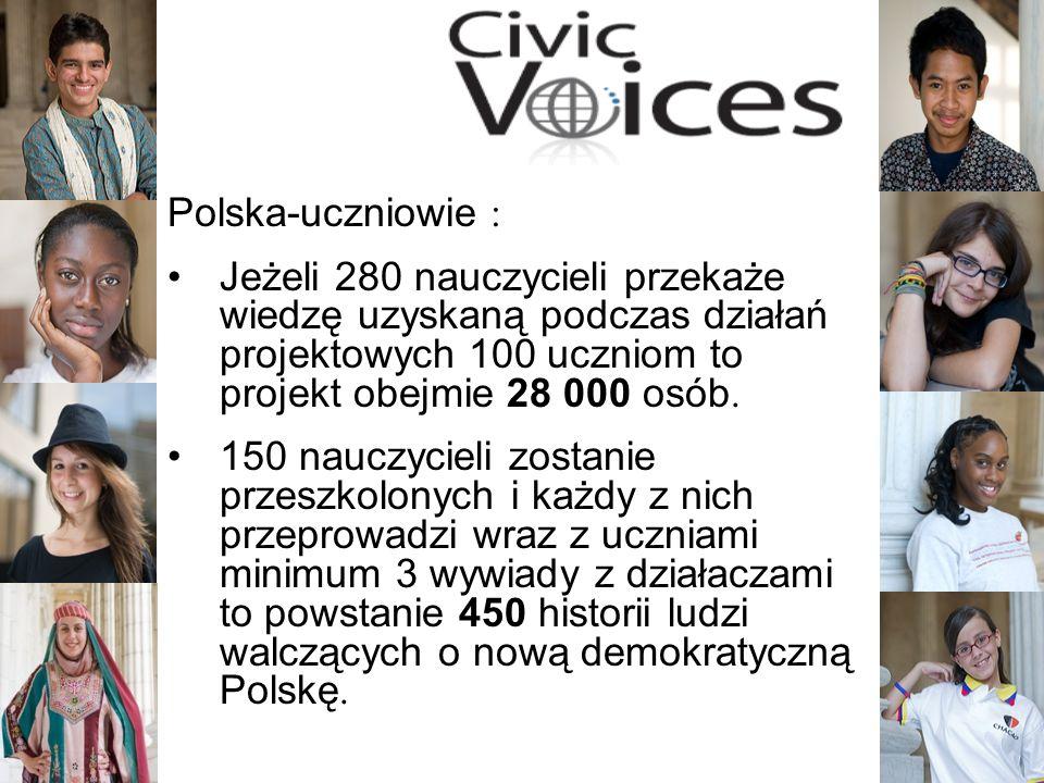 7 Polska-uczniowie : Jeżeli 280 nauczycieli przekaże wiedzę uzyskaną podczas działań projektowych 100 uczniom to projekt obejmie 28 000 osób. 150 nauc